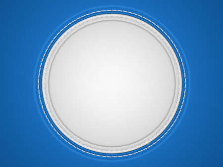 stitched: Blue and white stitched circle shape on leather background. Large resolution