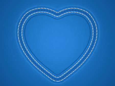 Blue stitched heart shape on leather background. Large resolution photo