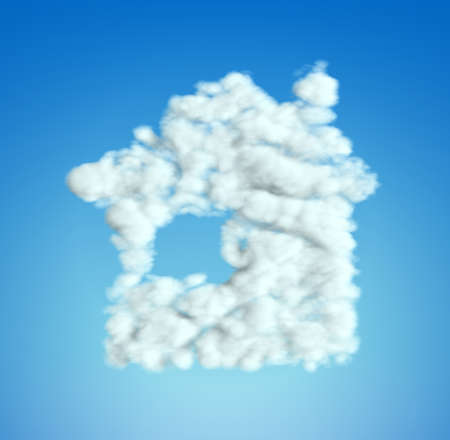 Cloud House symbol shape over blue sky (Blurred composition) Stock Photo - 9065747