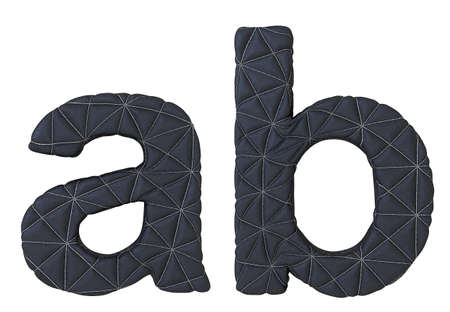 plain stitch: Lowercase stitched leather font a b letters isolated on white