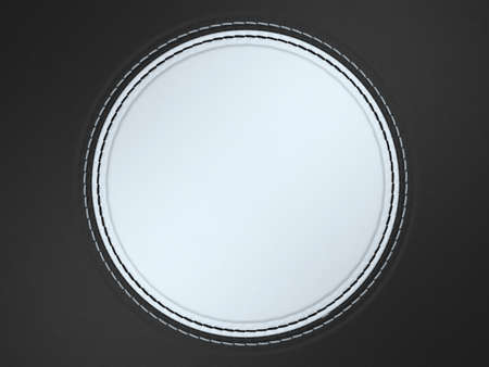 Black and white stitched circle shape on leather background. Large resolution Stock Photo - 9229954