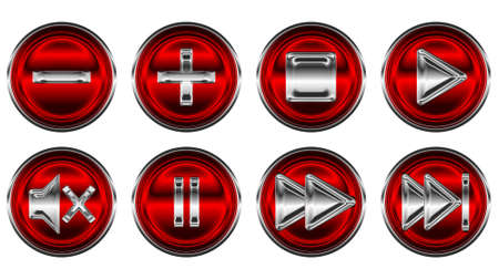 Collection set of media controls and buttons over white photo
