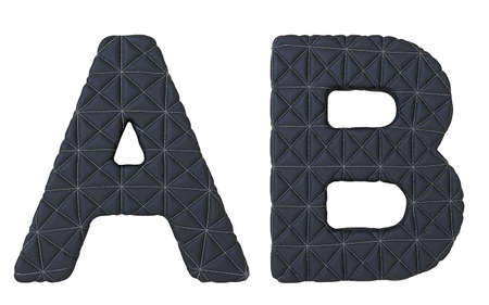 chr: Luxury black stitched leather font A B letters isolated on white