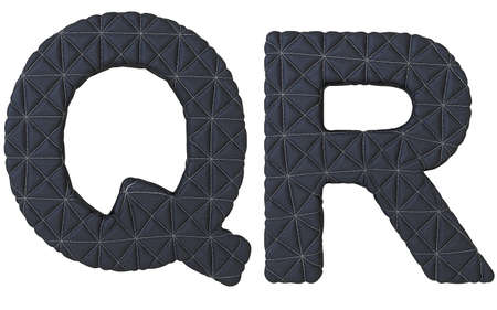 Luxury black stitched leather font Q R letters isolated on white photo