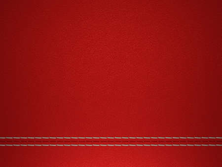 Red horizontal stitched leather background. Large resolution photo
