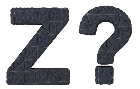 Stitched leather font Z letter and query mark isolated over white photo