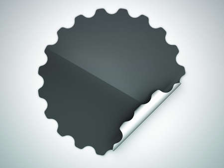 hamous: Black round hamous sticker or label over grey spot light background