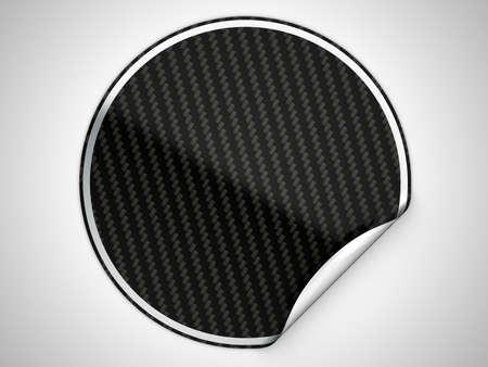 Black textured bent sticker or label over grey spot light background photo