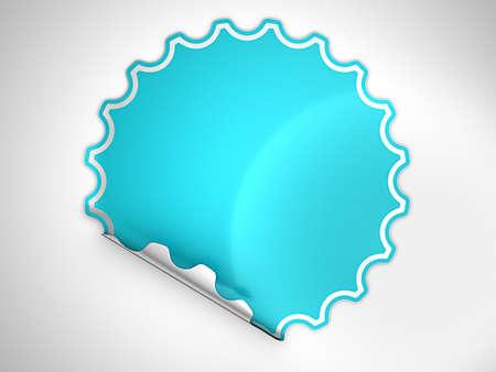hamous: Blue round bent label or sticker over grey spot light background
