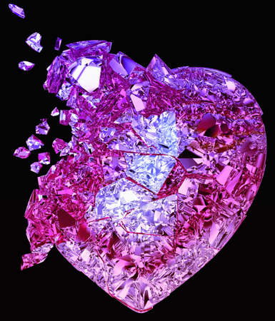 disease prevention: Broken crystal Heart: unrequited love, death, disease or pain. Isolated on black