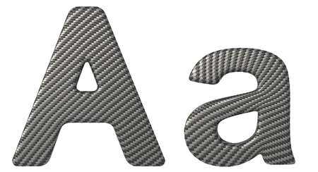 carbonfiber: Carbon fiber font A lowercase and capital letters isolated on white Stock Photo