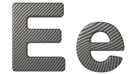 carbonfiber: Carbon fiber font E lowercase and capital letters isolated on white