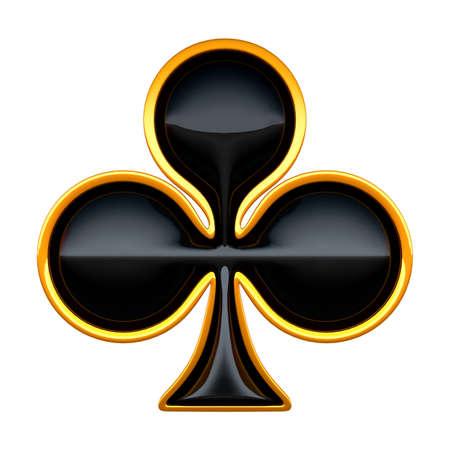 cartas de poker: Trajes de tarjeta de clubes con oro encuadre aislado en blanco Foto de archivo