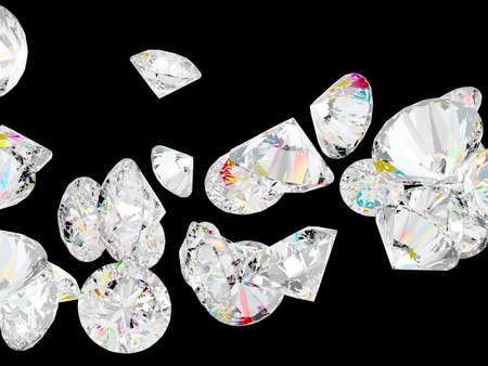 Diamonds or gemstones isolated over black background photo