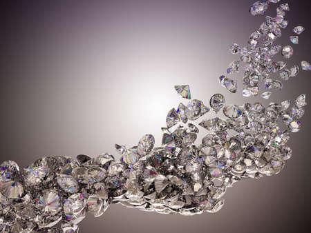prisme: �coulement de gros diamants sur fond clair studio Banque d'images