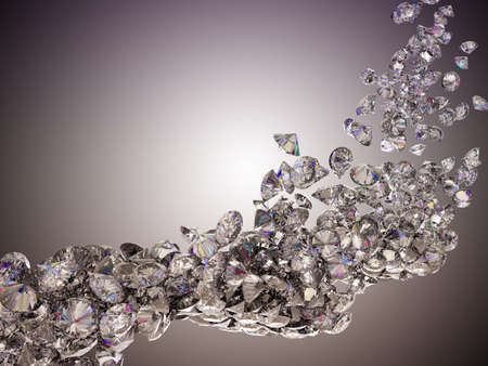 Large diamonds flow over studio light background photo