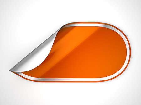 hamous: Orange rounded hamous sticker or label over grey spot light background Stock Photo