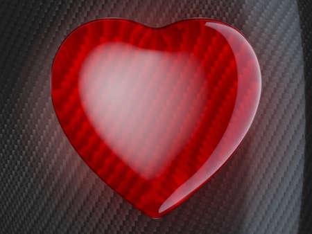 Red heart shape over carbon fiber background photo