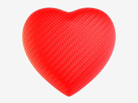 composit: Red woven fiber heart shape isolated on white