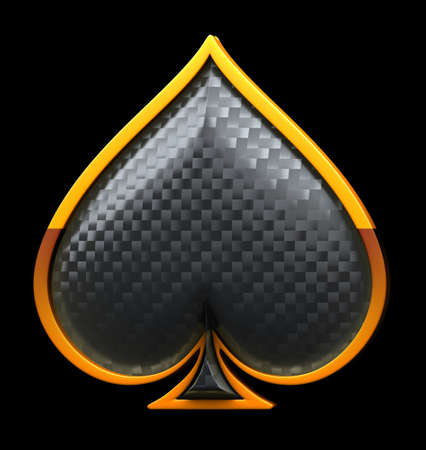 carbon fibre: Spades textured card suits with golden framing isolated over black Stock Photo