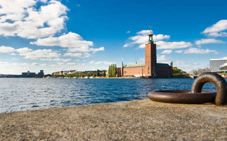 quayside: Stockholm quayside and city hall in summer Stock Photo