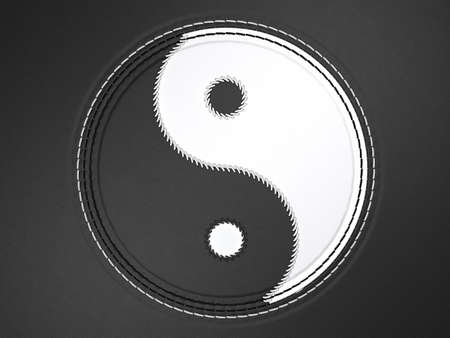 Ying yang stitched symbol on black leather background Stock Photo - 9345368