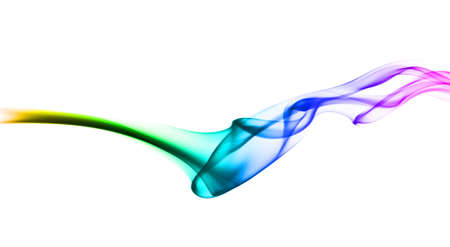 fume: Abstract colorful fume waves over the white background