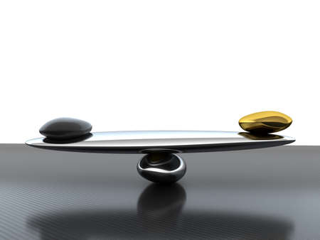 Balance: Stability scales with carbon fiber shape and gold on textured surface Stock Photo