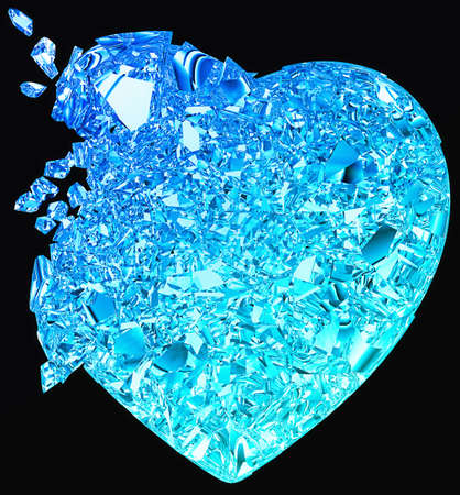 Blue Broken Heart: unrequited love, death, disease or pain. Isolated on black photo