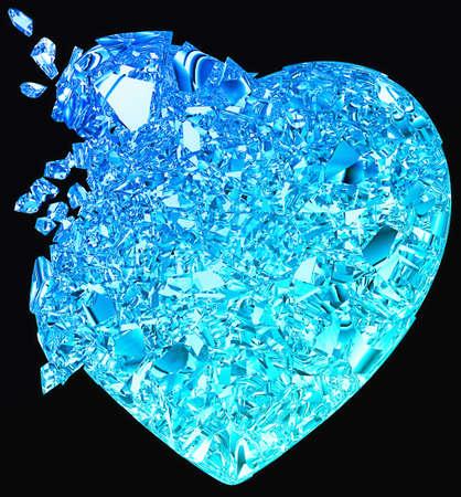 unrequited love: Coraz�n roto azul: amor no correspondido, muerte, enfermedad o dolor. Aislados en negro