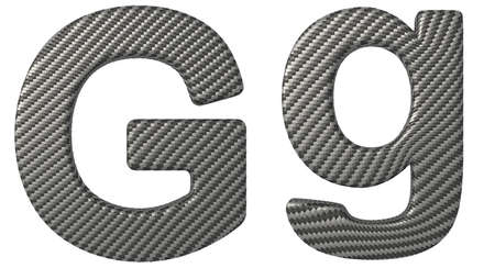 carbonfiber: Carbon fiber font G lowercase and capital letters isolated on white