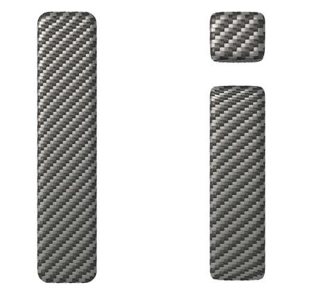 chr: Carbon fiber font I lowercase and capital letters isolated on white