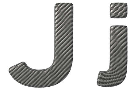 carbonfiber: Carbon fiber font J lowercase and capital letters isolated on white