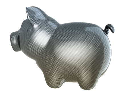Carbon fiber piggy bank isolated on white photo