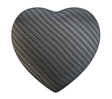 Carbon fibre heart shape isolated over white background photo