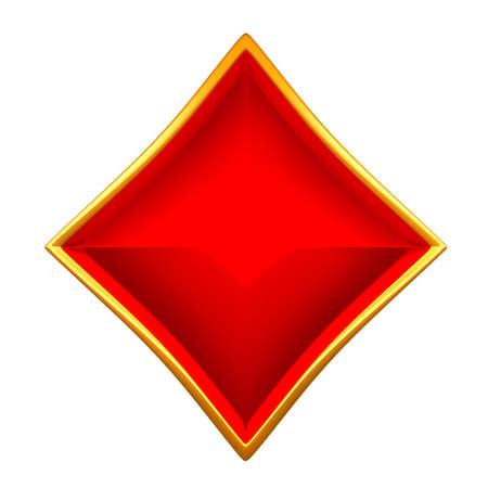 cartas de poker: Trajes de tarjeta de diamantes con oro encuadre aislado en blanco Foto de archivo