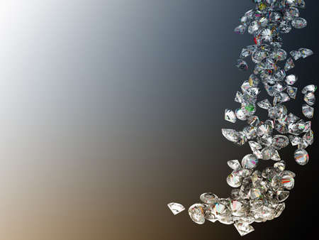Large diamonds or gems flow over colorful gradient background photo