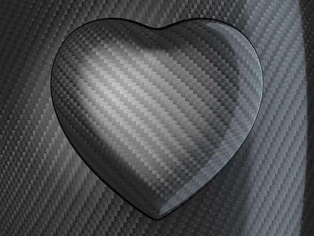 Love: Carbon fibre heart shape over textured background photo