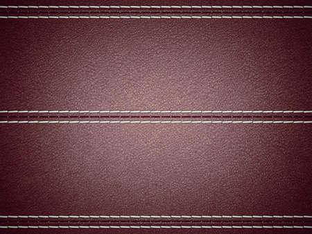 Maroon horizontal stitched leather background. Large resolution Stock Photo - 9376669