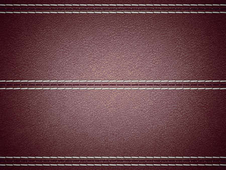 Maroon horizontal stitched leather background. Large resolution