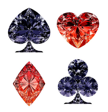 Red and dark blue diamond shaped card suits over white photo