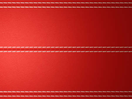 Red horizontal stitched leather background. Large resolution