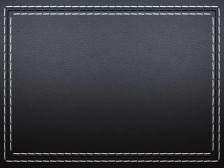 seams: Stitched frame on black leather background. Large resolution Stock Photo