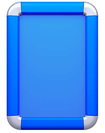 citylight: Blue Billboard or citylight isolated on white. Front view
