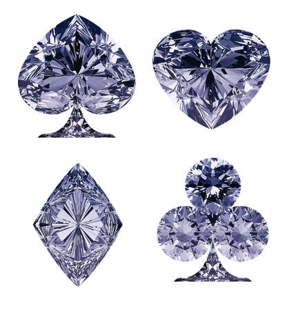 Blue Diamond shaped Card Suits isolated over white Stock Photo - 9404829