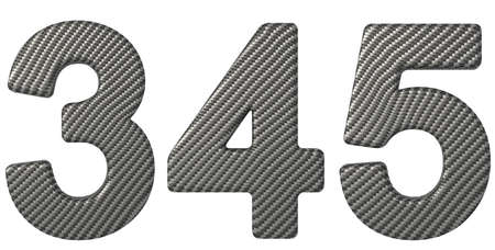 chr: Carbon fiber font 3 4 5 numerals isolated on white