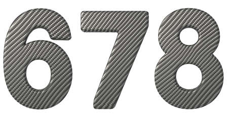 carbonfiber: Carbon fiber font 6 7 8 numerals isolated on white Stock Photo