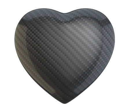 carbon fibre: Carbon fiber heart shape isolated over white background