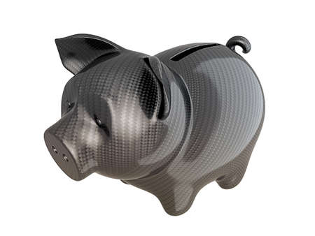 Carbon fiber piggy bank: reliable service. Isolated on white photo