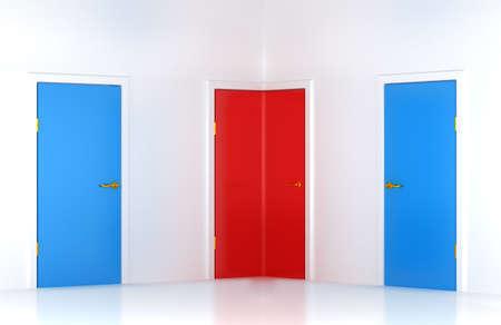 Choosing the right way: conceptual corner door in abstract room photo
